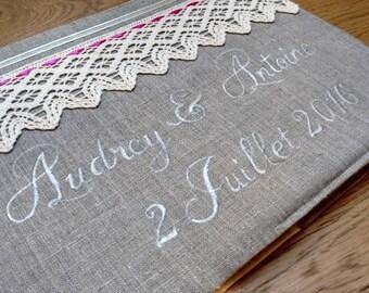 Gold linen - Invitation - romantic wedding guestbook