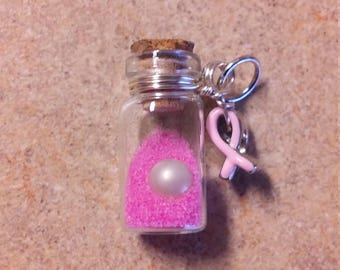 Breast Cancer Awareness Pearl in a Bottle Pendant / Charm