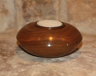 Small Walnut wood candle holder