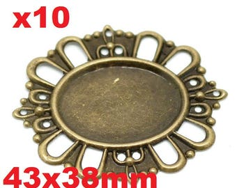 10 cabochons flower filigreed oval bronze 4.3 cm x 3.8 cm