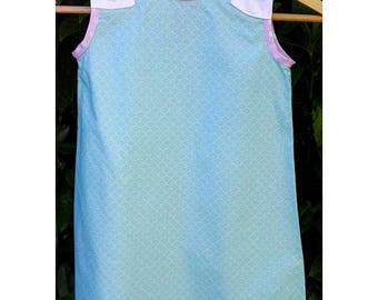 """""""Green Sorbet"""" cotton girl dress with bows."""
