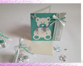 Child invitation - Christening / birth - Teddy bear and Butterfly - a custom-made Creation.