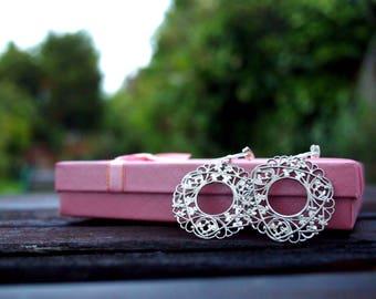 Handmade Filigree round earrings