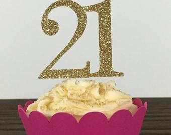 12 Ct 21st Birthday Cupcake Toppers| 21st Birthday Decorations | Gold 21st  Birthday