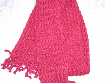 Deep red knit scarf