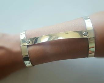 Faux Leather Light Gold H Bracelet