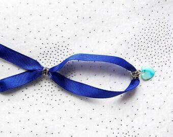 Bracelet adjustable Blue Ribbon and Pearl