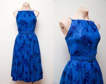 Vintage 1950s Purple Blue Chiffon Floral Formal Dress Eloise Curtis 50's Wedding Party Dress