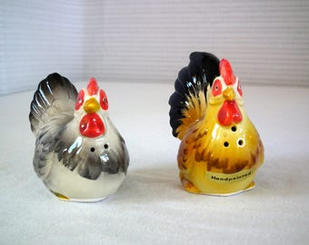 Otagiri Rooster and Hen Salt and Pepper Shakers/ Chickens / JAPAN / Vintage