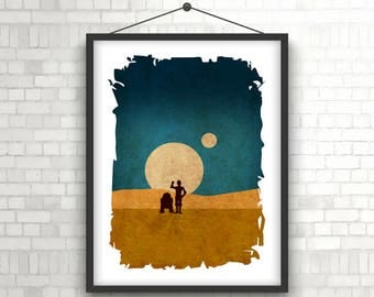 C3PO and R2D2 on Tatooine  |  Star Wars Portrait  |  Movie Poster Print