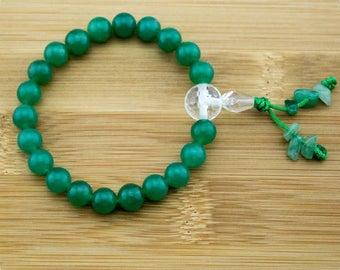 Green Aventurine Buddhist Mala Bracelet with Faceted Crystal Quartz   8mm   Yoga Jewelry   Meditation Bracelet   Wrist Mala   Free Shipping