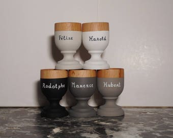 5 eggcups customizable with your names, eco design. 5