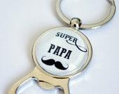 Porte-clés Décapsuleur - Super Papa Moustache