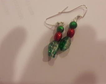 Red green and clear beaded earrings