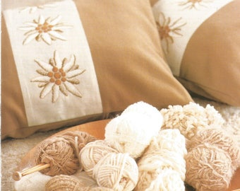 Embroidery for cushion with edelweiss pattern
