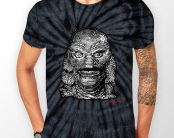 Creature black lagoon horror tie dye t shirt from my original collection (  horror movie fan,Gothic,horror fan,universal monsters,gift )