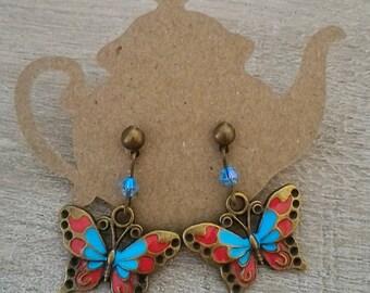 Enameled butterfly earrings