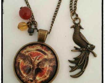 Hunger game orange and black necklace