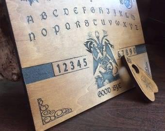 Genuine baphomet woodcut ouija board