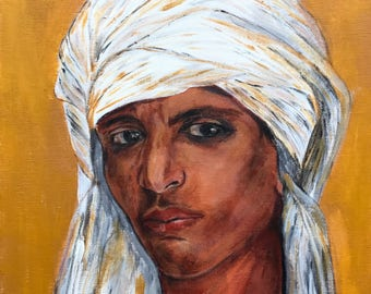 Original painting, acrylic, North Africa man Portrait