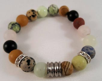 Gemstone bracelet made of agate, fluted stainless steel bead and Strassrondelle