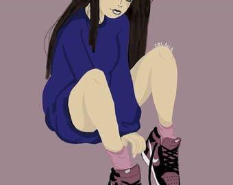 Sweatshirt girl drawing