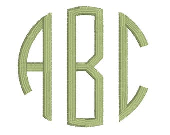 3 Letter Thin Circle Monogram, Machine Embroidery Font Alphabet (1.5, 2.5, 3.5 Inches)