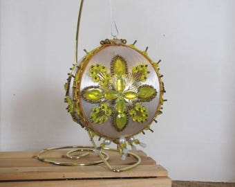 Hand embelished Vintage Christmas Tree ball ornament White with Gold trim and golden yellow beads