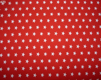 Fabric C673 white stars on red coupon 35x50cm