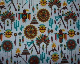 Fabric patterns C711 Indian Brown/green/yellow/orange coupon 35x50cm
