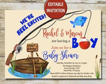 Fishing baby shower etsy for Fishing baby shower invitations