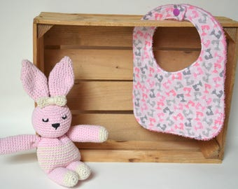Pink bib with colorful little foxes