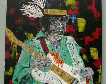 "Original Abstract Painting, Palette Knife Painting, Wall Art, 24 x 30, ""Jimi"", Black, Aqua Green"