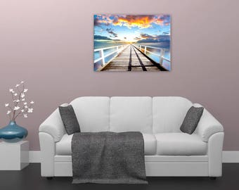 Painting sunset, Pier, sea, wall painting, digital art, digital, digital art print
