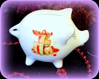 Ground squirrel and kitten porcelain pig shaped piggy bank