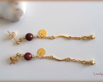 Bohemian Chic earrings fine Sequin gold - natural semi precious beads of Mookaite