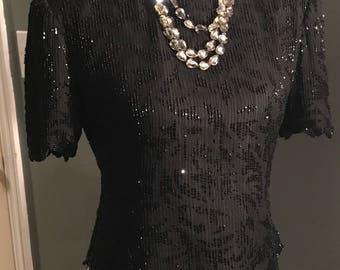 Laurence Kazaae Black Beaded Silk Vintage Blouse Size Medium