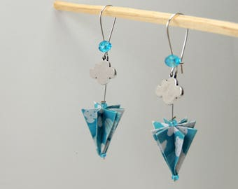 "Origami ""Cloud umbrella"" earrings blue white"