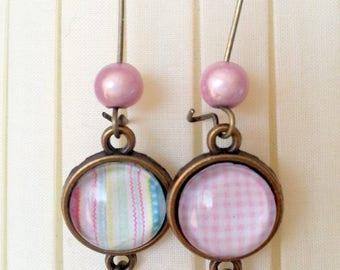 Big earrings bronze and pink
