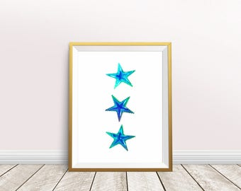 Starfish Wall Art, Starfish Painting,Nursery decor,Starfish art,Instant download,Printable Starfish,Sea life art,Beach art,Starfish print