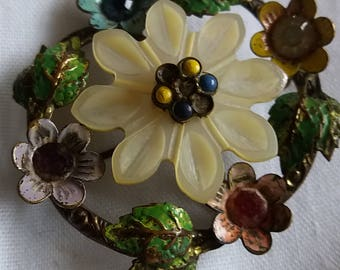 1940s Brass and Mother of pearl floral brooch, very unique.