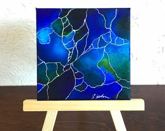 Alcohol Ink Study #2- Original blue and green abstract fluid art painting with white detail