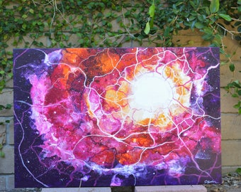 Nebula- Original pink, purple, and orange abstract fluid art painting with white detail