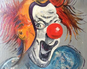 Creepy Clown, Pennywise, Bob Gray, Stephen King, It, Dancing Clown, Halloween Decor, oil painting, original, artist signed,