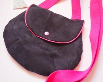 Pink lining and suede shoulder bag
