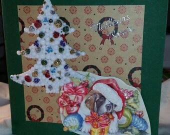3D card saint Bernard paper Christmas and tree