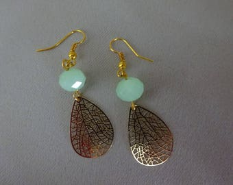 Vintage gold charm, green pearl earrings.
