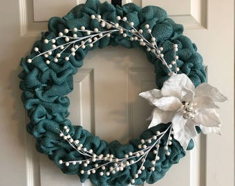 Teal and White Christmas Burlap Wreath