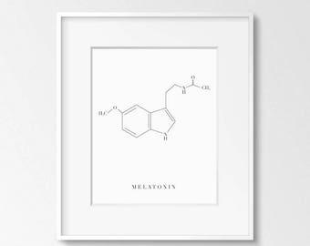 Molecule Melatonin Printable Art, 8x10, 4:5 Ratio, Modern Wall Art, Instant Download, Digital Print Printable Art