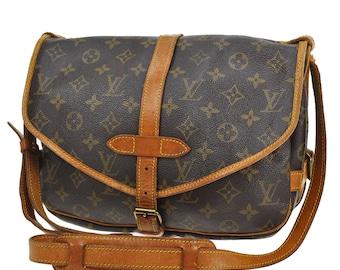361 LOUIS VUITTON Authentic Saumur 30 Shoulder Bag M42256 Brown Monogram Canvas Leather Vintage